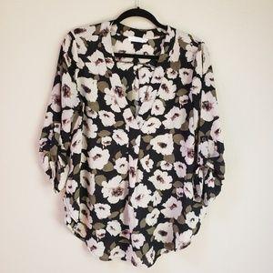 [Lush] Floral Print Pop Over Blouse
